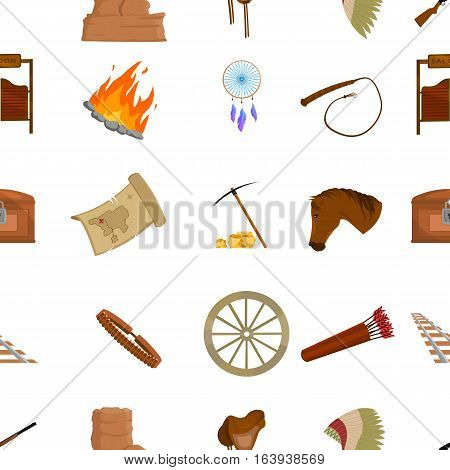 Wild west pattern icons in cartoon style. Big collection wild west vector symbol stock