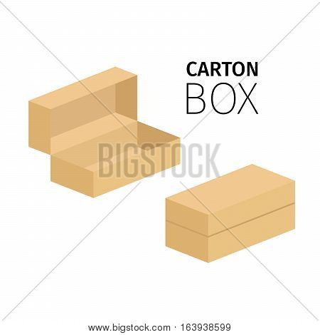 Small opened and closed carton box pack.Vector flat items isolated on white