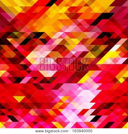 Geometric Pattern Of Pink, Yellow, Red Triangles