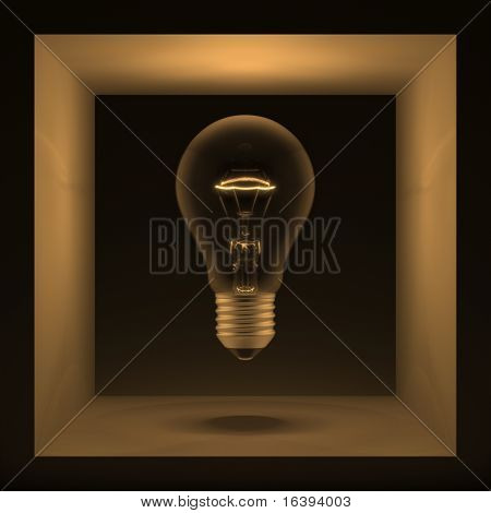 Light bulb in a cube. Abstraction