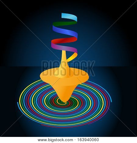 Whirligig And Multi-colored Pinwheel Spiral On A Blue Background