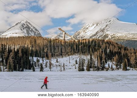 Winter in High Tatras Mountains. High Tatry. Slovakia. Vysoke Tatry. Sunny day. Cross Country Skiing.