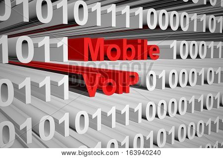 Mobile VoIP in the form of binary code, 3D illustration
