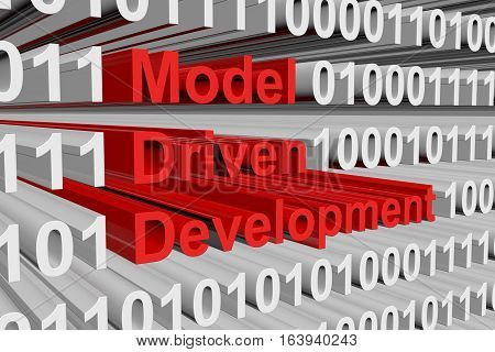 model driven development in the form of binary code, 3D illustration
