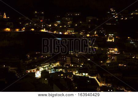 amazing positano night view in south Italy