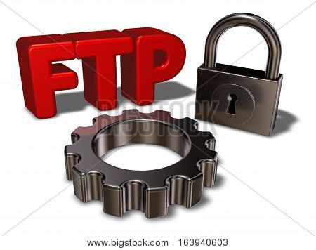 ftp tag padlock and gearwheel - 3d illustration
