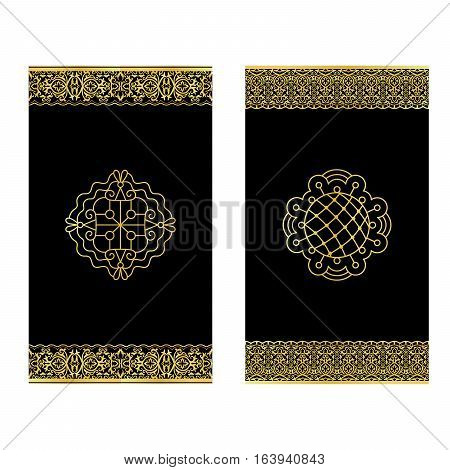 Black vertical invitations with golden lacy borders, vector set
