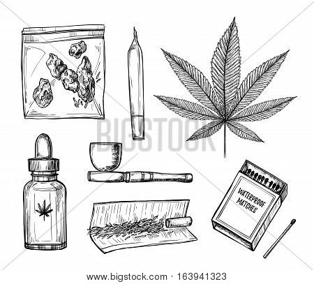 Hand Drawn Vintage Vector Illustration - Medical Cannabis. Design Elements In Sketch Style ( Joint,