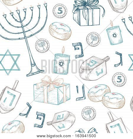 Hand Drawn Vector Illustration - Hanukkah. Jewish Holiday. Seamless Pattern In Sketch Style. Can Be