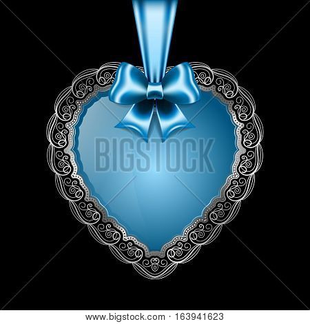 Heart-shaped silver frame with lace border and silk bow. Valentines Day greeting card. Vector illustration