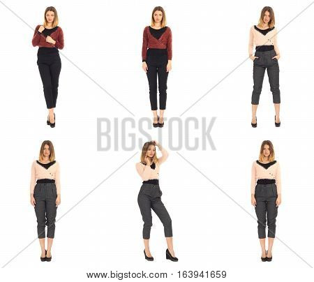 Set of photos with business woman isolated