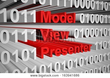 Model View Presenter in the form of binary code, 3D illustration