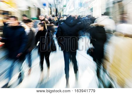Crowd Of People On Shopping Street