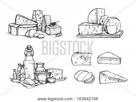 Hand Drawn Vector Illustration. Cheese And Milk Set (mozzarella, Blue Cheese, Gouda, Parmesan, Maasd