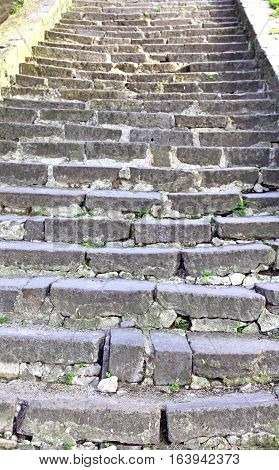 Old stone stairs from bottom to top