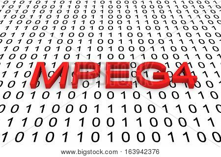 MPEG4 in the form of binary code, 3D illustration