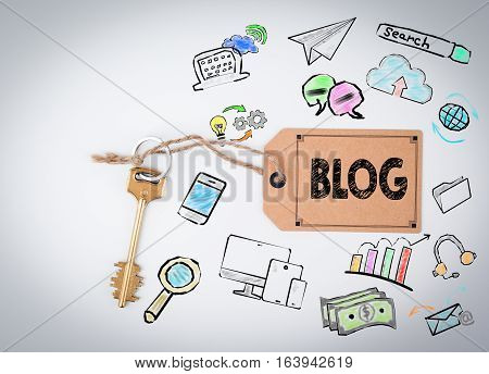 Blog Concept. Key and a note on a white background