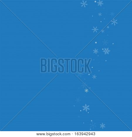 Sparse Snowfall. Right Wave On Blue Background. Vector Illustration.