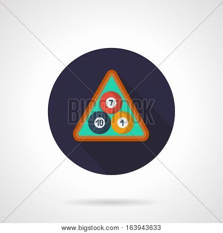 Three pool billiard balls red, blue and yellow colors and with numbers 10, 7, 1 in a wooden triangle rack. Game starting position. Round flat design vector icon.