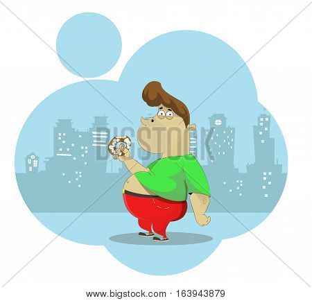 Fat Nerd eating donut. Overeating, obesity concept illustration. Vector