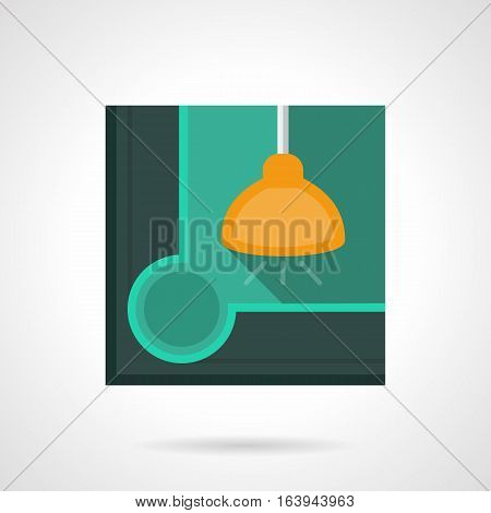Abstract image of yellow lamp under a corner of pool table with hole. Lights for billiard room in sport club or pub. Stylish square flat color design vector icon.