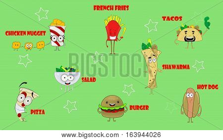 Colorful fun cartoon icons with fast food meals. Here are burger, tacos, hot dog, pizza, salad, french fries, nugget and shawarma. Vector