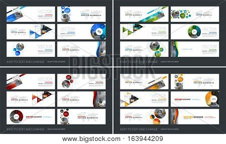 Vector set of modern horizontal website banners with colourful soft shapes, rounds, sphere for PR, beauty, tech, communication. Clean web headers design with overlay effect.