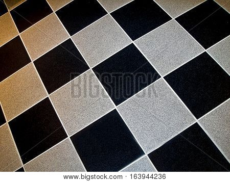 A checkered pattern black and white squares