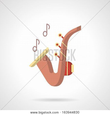 Pink saxophone with two notes. Design element for jazz party, music entertainment or festival. Brass musical instruments theme. Flat color style vector icon.