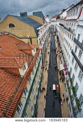 Portugal Lisbon Baixa quarter of the city. View of the streets and rooftops of the city from the Santa Justa lift. Rainy spring day.