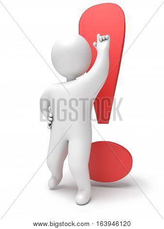 Exclamation mark 3d render person. Isolated on white background
