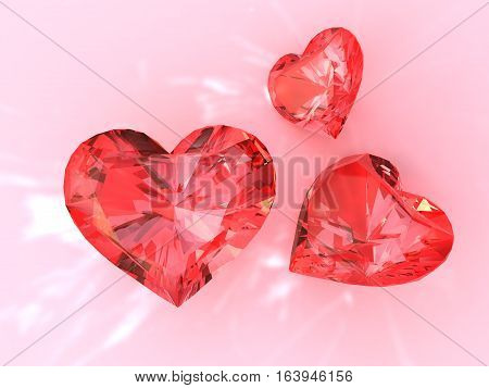 The red ruby heart 3d render. On pink background
