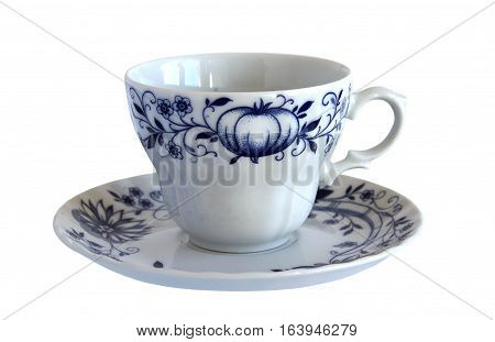 An antique Fine porcelain cup and saucer isolated on white background