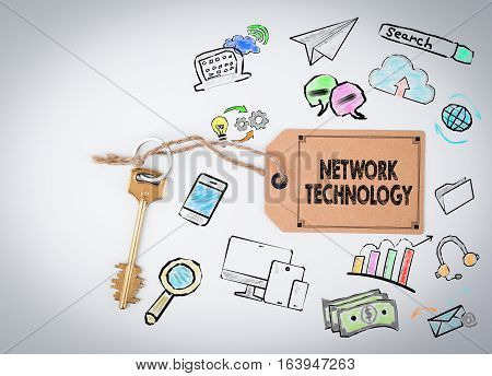 Network Technology. Key and a note on a white background