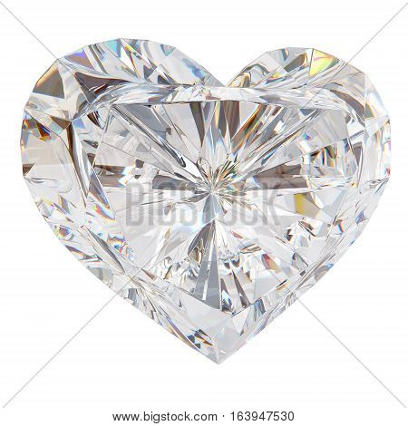 Brilliant cut heart 3d render. Isolated on white background