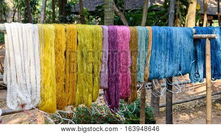 colorful thread raw silk cloth dye from natural color material for woven handicraft thai style