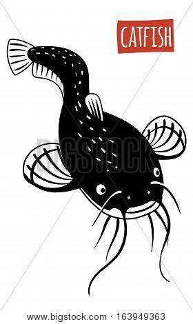 Catfish, black and white vector illustration, cartoon style