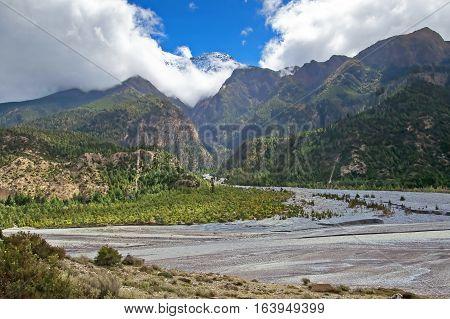 Kali Gandaki Gorge, Annapurna conservation area, Nepal. Annapurna cirkut trek. The most beautiful trekking on the Himalaya mountains