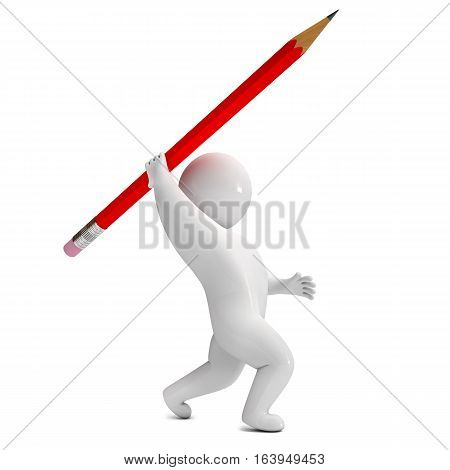 3d render pencil spear. Isolated on white background