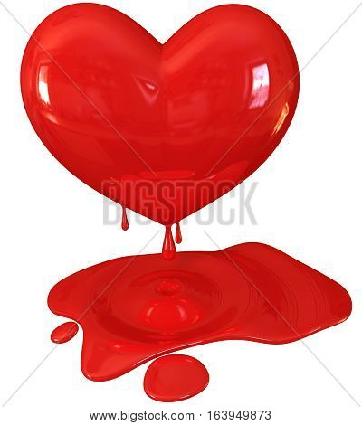 Red melting heart 3d render. Isolated on white background