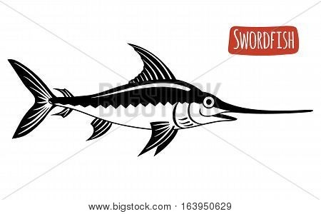 Swordfish, black and white vector illustration, cartoon style