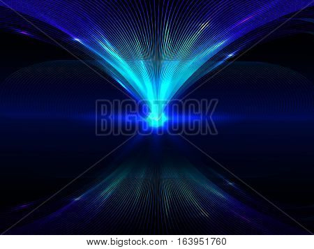 Abstract Background With Blue Luminous Interlocking Lines And Their Reflection