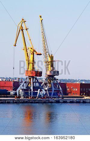 Nice view of crane in Odessa seaport, Ukraine