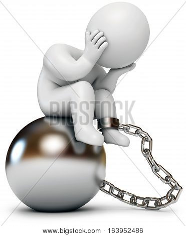 Man shackled prison inmate 3d render. Isolated on white background