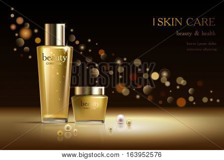 Beauty cosmetic product poster, cream ads, makeup template, golden bottle package, skin care cream, liquid. Sparkling dark background with golden shiny glitter, gold bokeh 3D Vector stock illustration