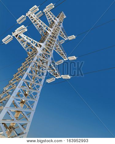 Power Transmission Line. 3d render. Blue background
