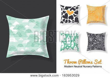 Set Of Throw Pillows With Matching Unique Neutral Nursery Repeat Patterns Prints Featuring Hearts, Houses, Stars, Trees . Square Shape. Editable Vector Template. Surface Pattern Textile Design.