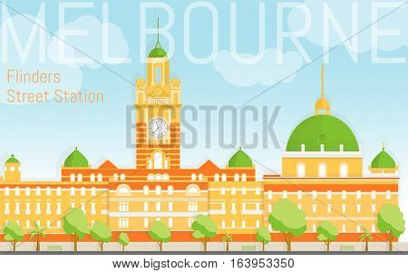 Flat design Flinders street station illustration vector. View from river bank. Design template for postcards, web banners, advertising. Melbourne attractions. Fresh summer colours.
