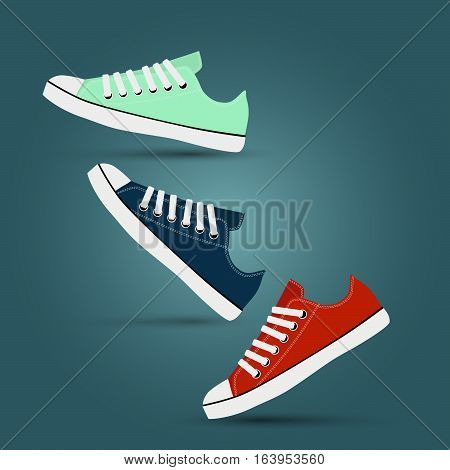 Girl teen red, blue, mint gymshoes Casual footwear
