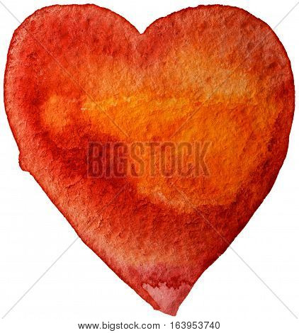 Heart, watercolor, elements for your valentines Warm orange tones. Isolated on white background.